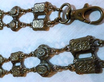 Vintage Metal Victorian Style Belt Double Chain and Floral Design