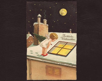Angel on the roof, Christmas postcard - Art deco lithograph print, cherub, German religious, vintage, antique greeting card - 1927 (V8-54)