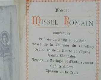 french antique religion .ancien small Roman, ancient missal Roman Missal