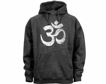 Yoga symbols Ohm aum distressed print dark heather gray hoodie-yoga symbols wear