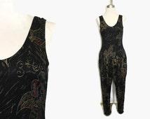 90s Jumpsuit M / Grunge Romper / Hip Hop Jumpsuit Black / Tapered Leg Halter Top Jumpsuit 90s Clothing
