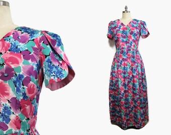 80s Bridesmaid Dress / Floral  Dress / 80s Long Dress / Romantic Satin Dress M / Garden Party Dress