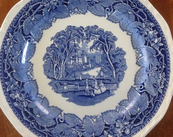 "Mason's VISTA Blue 10"" Ironstone Transferware Dinner Plate"
