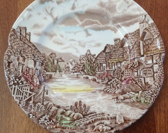 """Johnson Bros OLDE ENGLISH COUNTRYSIDE 6"""" Bread & Butter Plate - Brown Polychrome Transferware Ironstone England"""