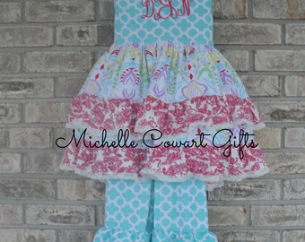 Easter Outfit, Easter Dress, Monogrammed Ruffle Set, Personalized Outfit, Monogram 6M 9M 12M 18M 2T 3T 5 6 7 8 9 10 12, RTS, Boutique Outfit