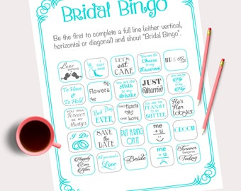 20 cards Bridal Bingo Game Blue/Green Bridal Shower Bingo Hen Party Game Bachelorette Party instant download