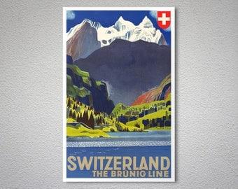 Switzerland Line Travel Poster - Poster Paper, Sticker or Canvas Print