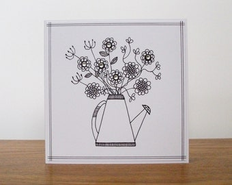 Jug of Flowers Card - Hand Made - Hand Drawn - Single Folded Greeting Card - Blank Interior - Natural Kraft Envelope.