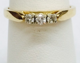 """Women's 14k two-tone 3-stone diamond ring; size 6 1/4""""; diamond: .06 carat TW; Gift for her; all occasion"""