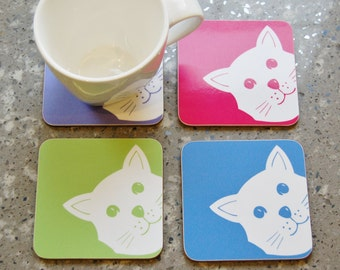 Peek A Boo Cat Coaster