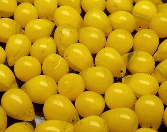 10pcs Czech Pressed Glass Teardrop Beads 10x14mm Yellow Opal
