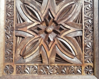 Wood Carving Wall Art Panel Chip Carved by Hand in Tulip Wood and Stained a Deep Brown, Handmade Wood Carving Wall Art,