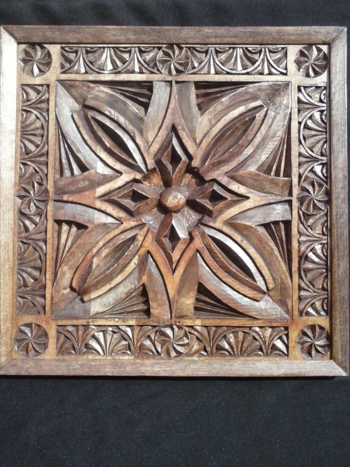 Wood carving wall art panel chip carved by hand in tulip
