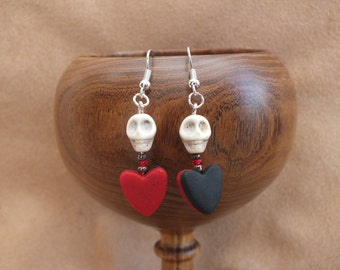 SALE!! Black and red heart earrings, skull earrings, love earrings