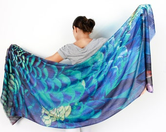 Scarf, Cashmere Peacock Printed