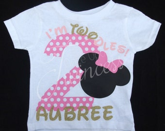 Second Birthday shirt - I'm Twodles - Minnie Mouse birthday shirt - Minnie Mouse second birthday shirt - 2nd birthday shirt - two years old