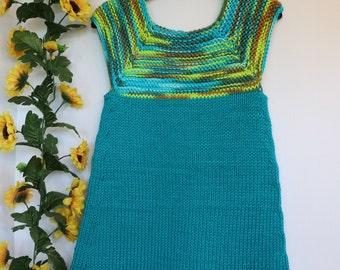 Little girl jumper, toddler tunic, knit cotton jumper, blue jumper, turquoise jumper, spring dress, summer jumper, little girl jumper
