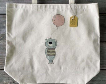 Canvas Tote, Cute Bear Bag, Market Bag