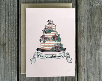 Wedding Card Congrats, Wedding Cake Card, Wedding Congratulations Card