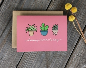 Pink Mother's Day Card, Plant Card, Mother's Day Plant Card