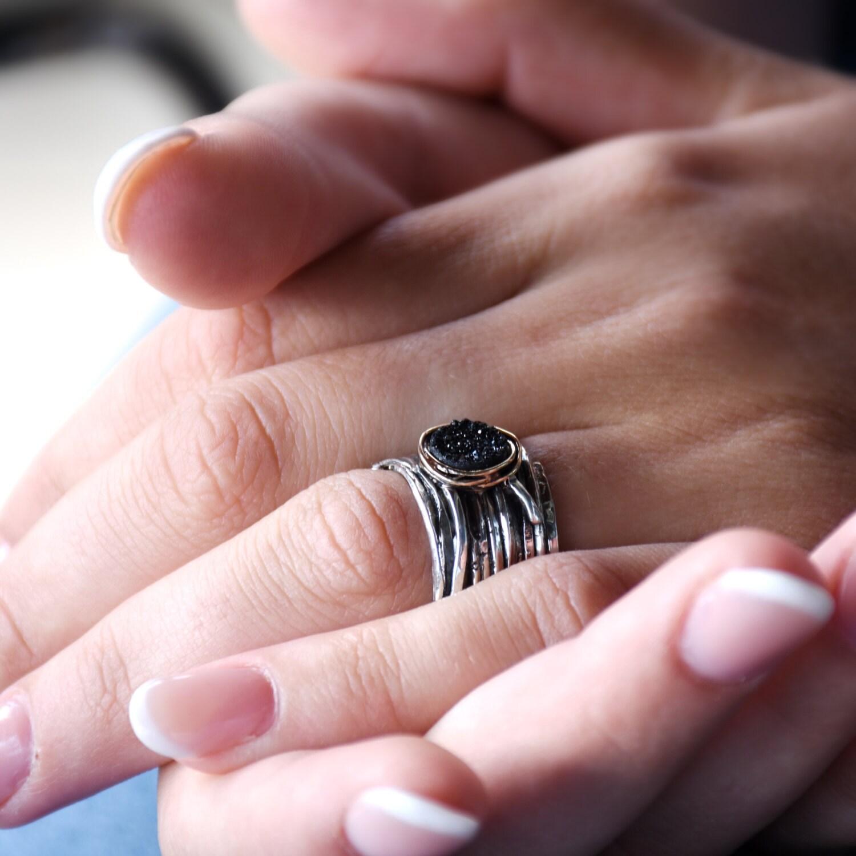 Two tone wrap ring, Black gemstone silver band, Black Drusy ring ...