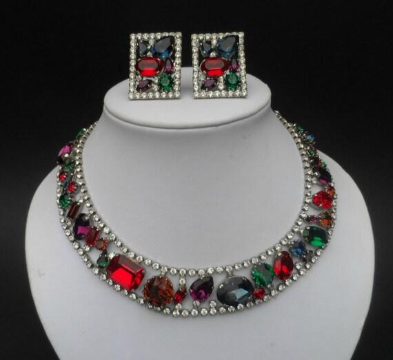 Vintage art deco costume jewellery necklace and earring set for Art deco costume jewelry