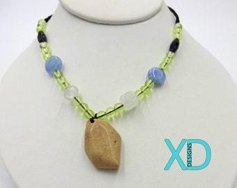 Brown Feldspar and Natural Multi-Gemstone Handcrafted Necklace, Brown Feldspar Pendant Necklace, Handcrafted Necklace, Handmade Necklace