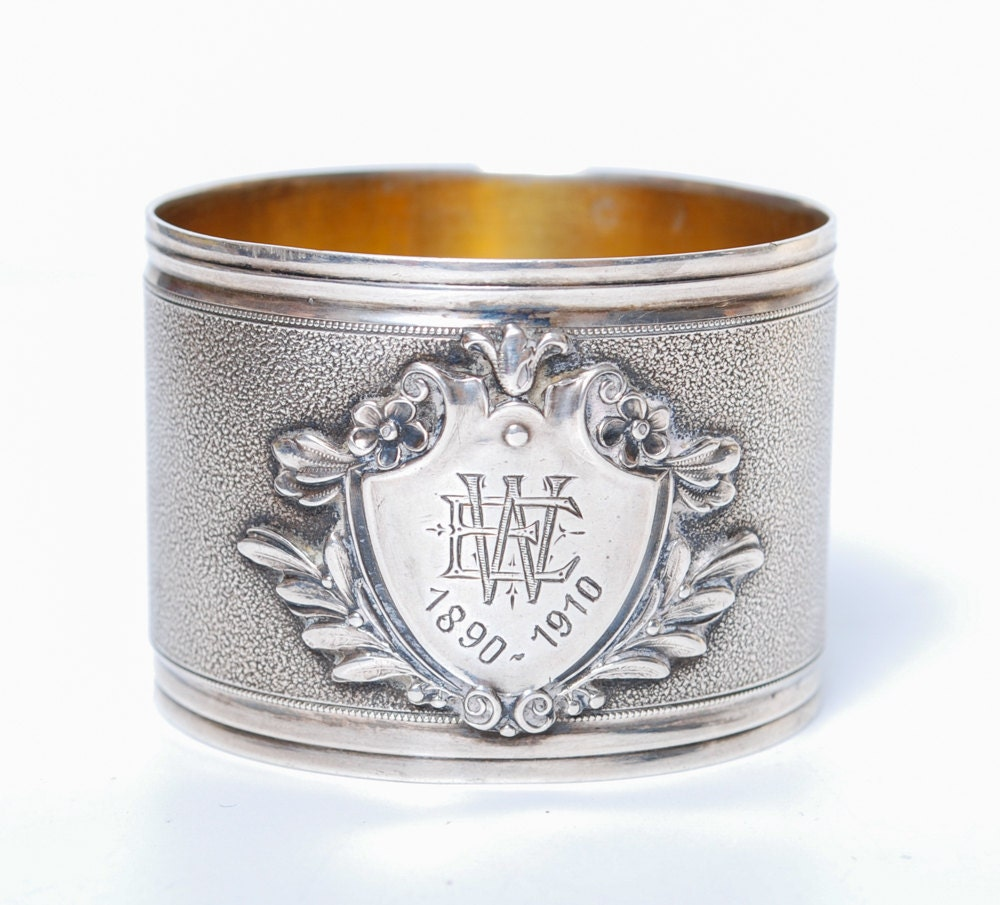 antique sterling silver napkin ring with engraving