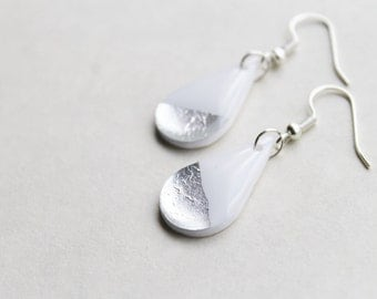 white and silver earrings drop earrings minimalist earrings simple earrings dainty earrings resin earrings contemporary jewelry gift for her