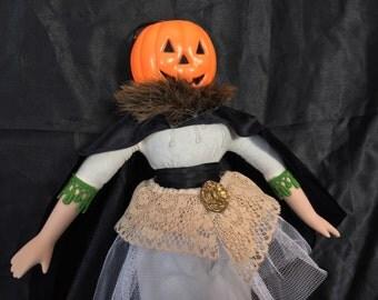 Pumpkin Head Fancy Doll