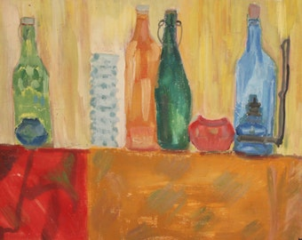 Vintage oil painting expressionist still life with bottles signed
