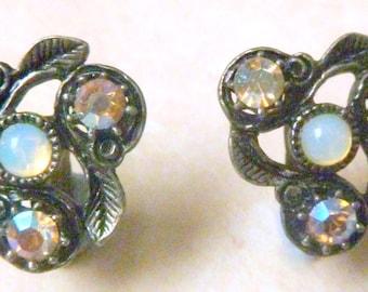 Vintage Miracle Aurora Borealis Floral Design Clip On Earrings.