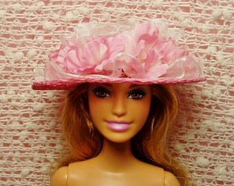 Barbie Hat - Pink Straw Designer Hat with White Ruffle & Silk Flowers
