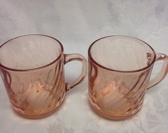 Arcoroc France Pink Swirl Glass Cups/Mugs