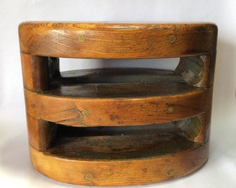 19th Century Maritime Wooden Sailing Pulley from Tall Ship