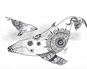 humpback whales pen and ink patternd print. Ocean Beach.  wall art