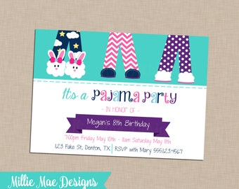 SALE 25% OFF Custom Pajama Party Invitation - Bridal Shower - Baby Shower - Retirement - Birthday Party