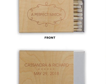 Framed Perfect Match, Veneer Wood  - Personalized Anniversary Favors, Party Favors, Custom Match box favors, Foil Stamped Matches
