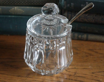 Vintage Cut Glass Sugar Bowl and Spoon ~ Jam Pot ~ Lidded Cut Glass Bowl ~ Wedding ~ Gift for Her