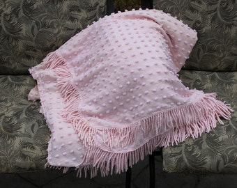 Vintage Pink Chenille Popcorn BedSpread