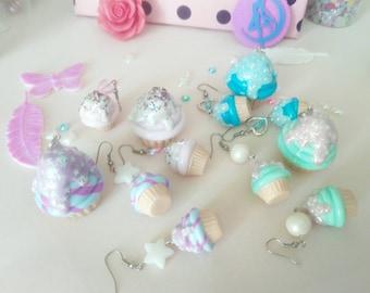 Cupcake pendant + earrings