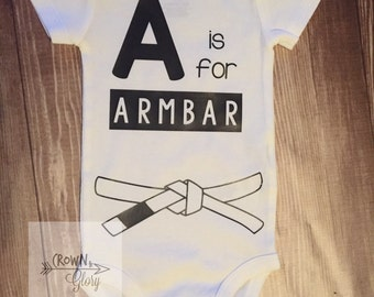 Armbar infant bodysuit// baby shower gift// jiu jitsu baby