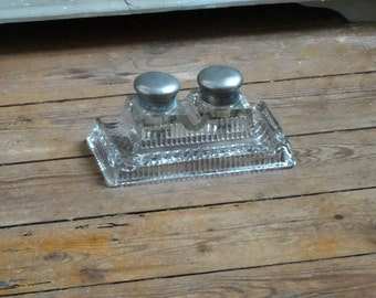Antique Vintage French Glass Inkwell