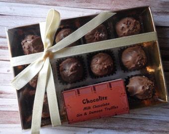 Gift Box of 12 Gin & Damson Milk Chocolate Truffle - Personalised Gift Box