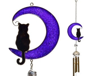 Black Cat On Moon Suncatcher & Windchimes