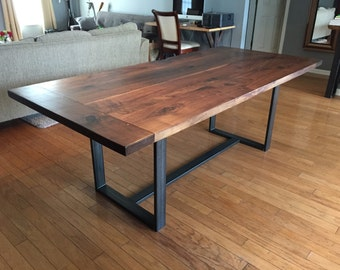 Solid Walnut Dining Table with Breadboard Ends
