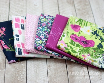 LAVISH Main Fabric BUNDLE - Floral Fuchsia, White and Navy Fabrics - Art Gallery Fabrics