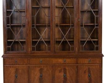 Vintage English Mahogany Wide Bookcase Cabinet