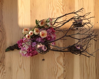 Manzanita Wall Hanging with Hydrangea and Birds