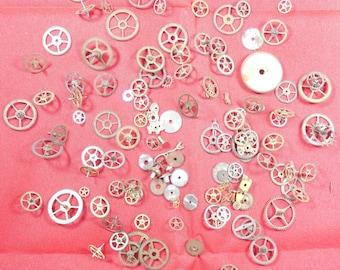 107  Vintage Steampunk Watch Gears Wheels Parts Altered Art.#-12